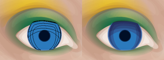 Adding shading towards the top and sides of the iris.