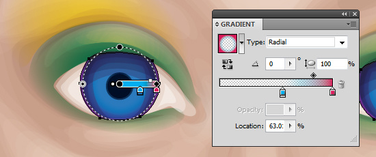 The gradient adds a soft outline to the iris.