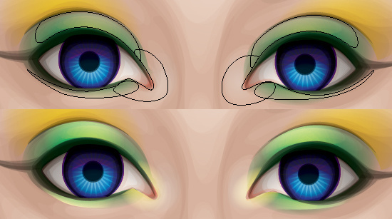Adding color dodge gradients to the eye shadow to give a shine.