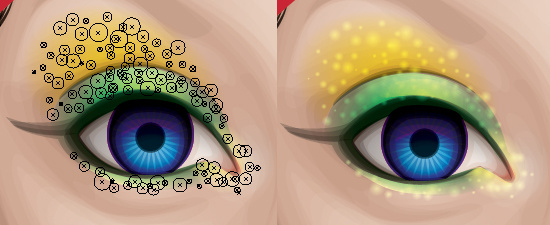 Using radial gradients to create a glitter effect.