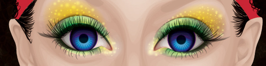 Adding the eyelashes using the Paintbrush Tool (B).