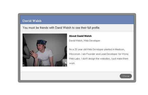Employ MooTools to create Facebook like modal box