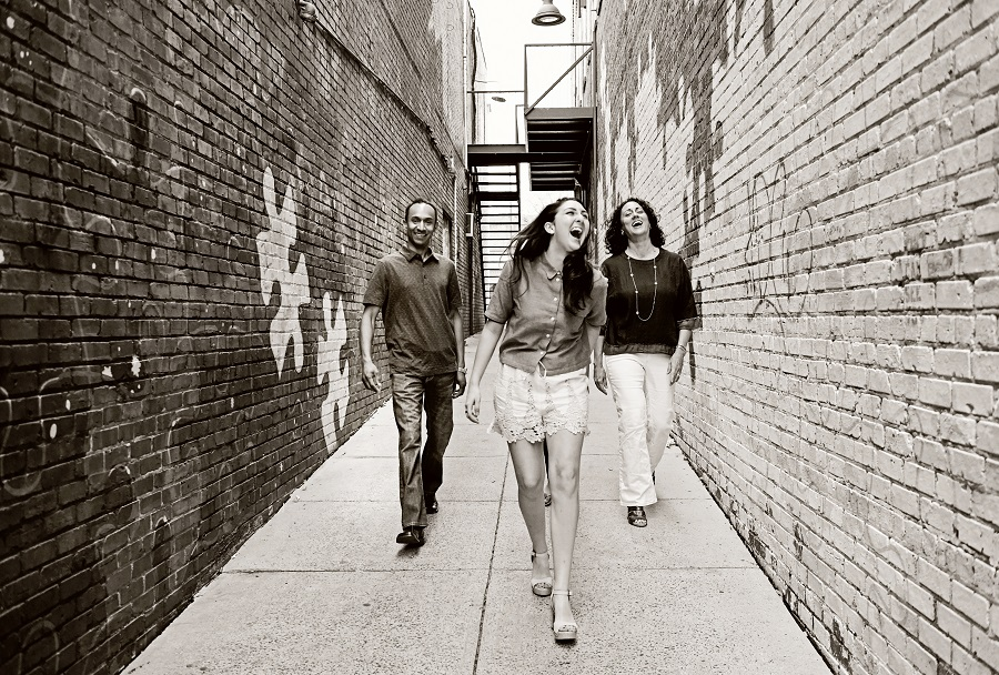 friends walking in an alley