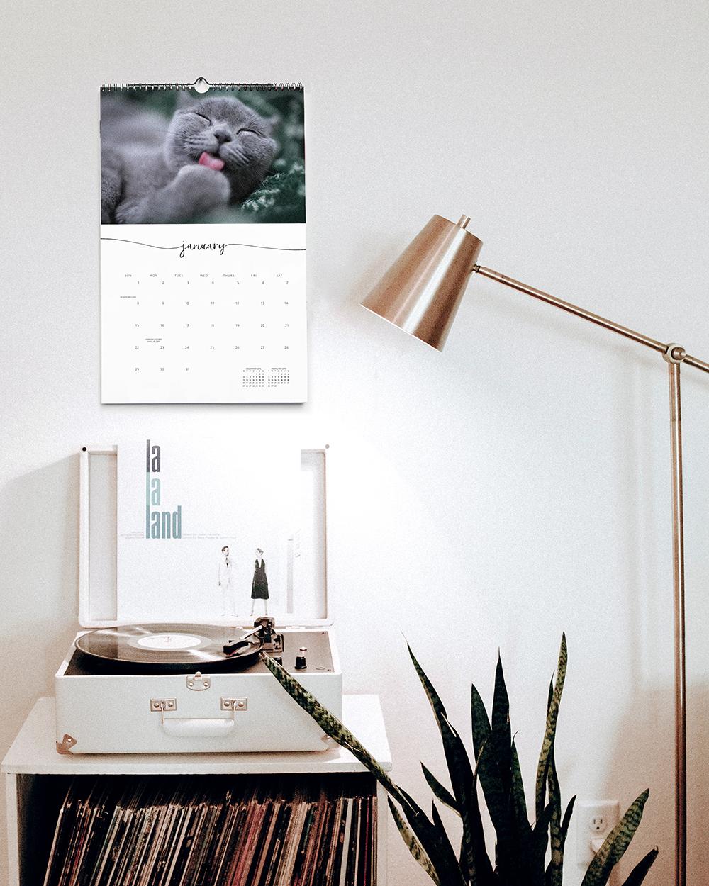 Custom photo calendar above record player