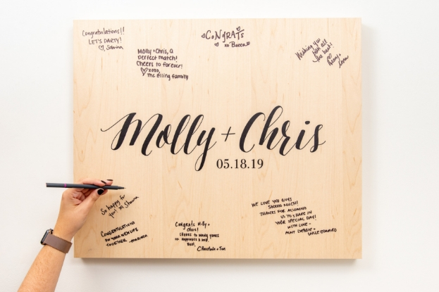 Write on your Wood Print for your wedding guest book