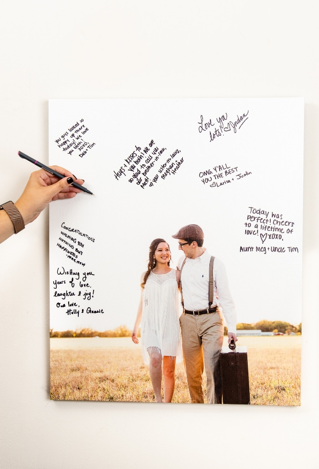 Write on your Canvas Print for your wedding guest book