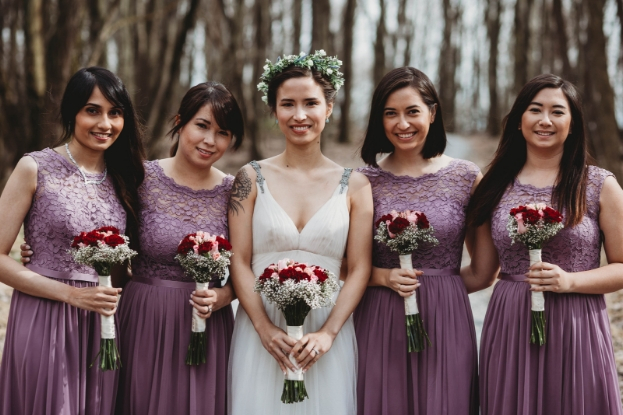 Pops of color within bridal party
