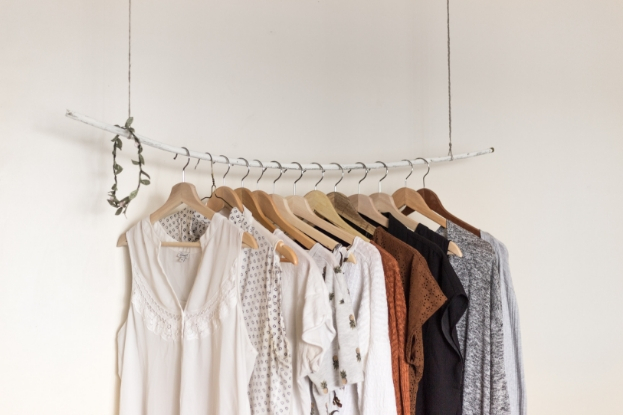 Outfits hanging in the closet