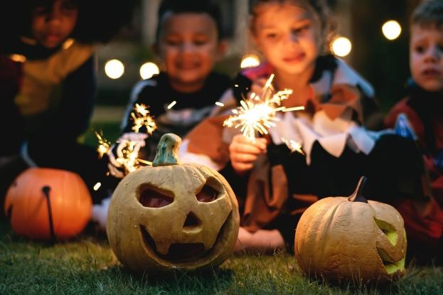 Carved pumpkins on Halloween