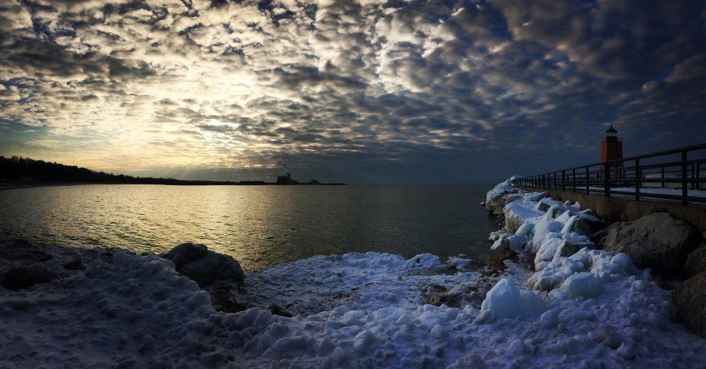 Charlevoix michigan lighthouse in winter