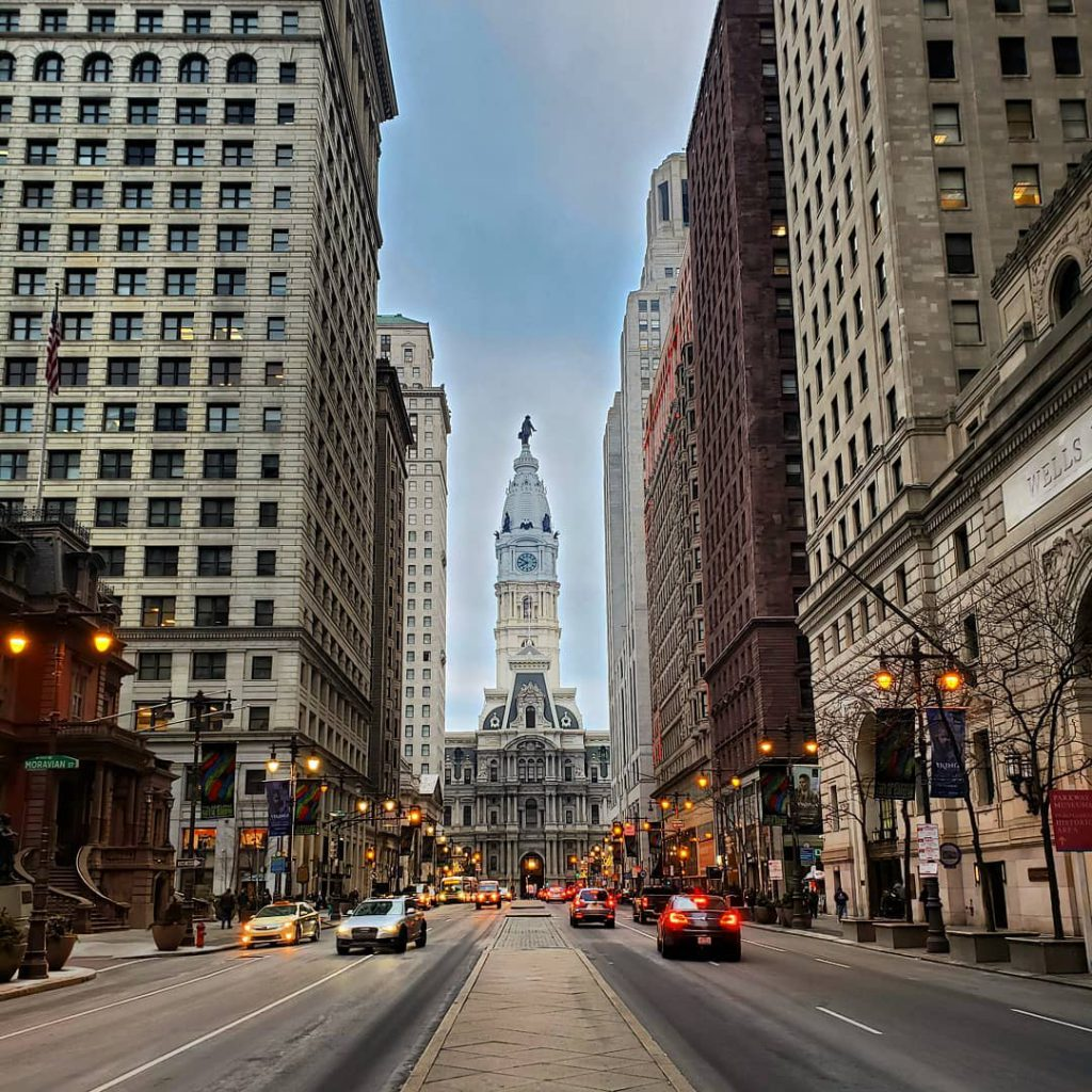 Broad Street looking at City Hall in Philadelphia, PA