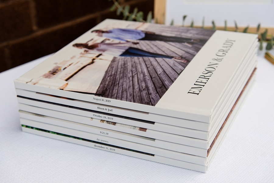 stack of photo books