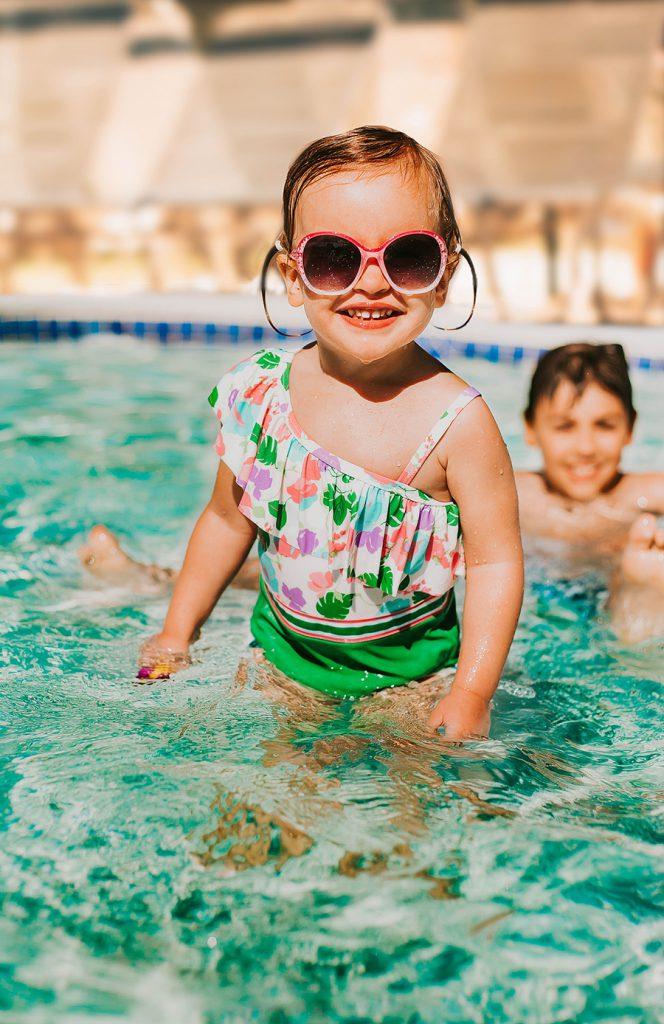 little girl swimming