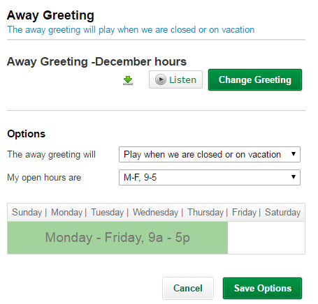 How do i create an away greeting once youve chosen your greeting tell us when we should play your away greeting m4hsunfo