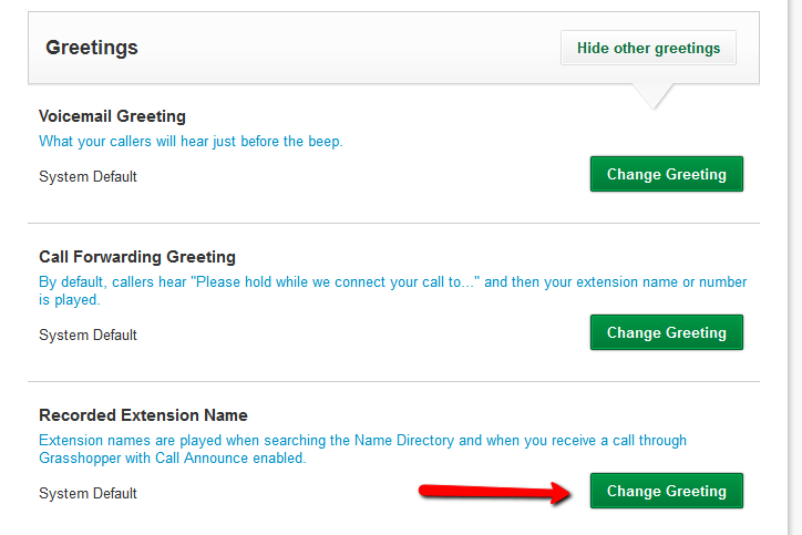 How do i change the announcement my callers hear during a conference select change greeting next to the recorded extension name greeting m4hsunfo