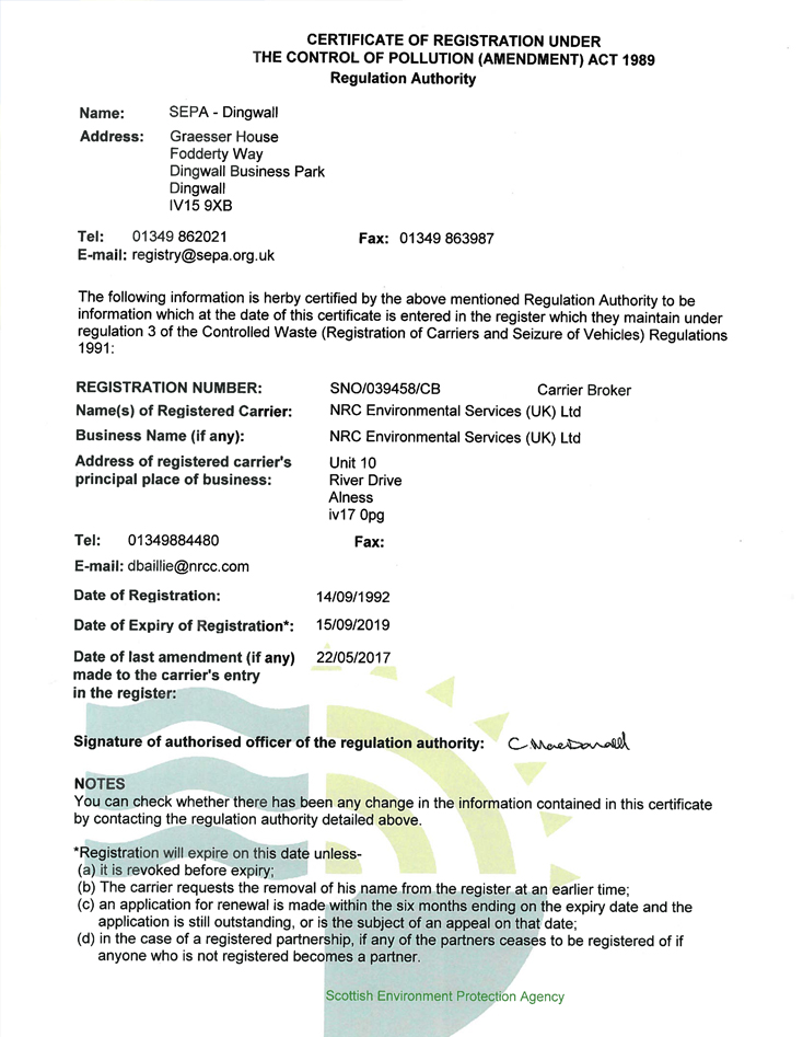 SEPA Waste Carriers Licence