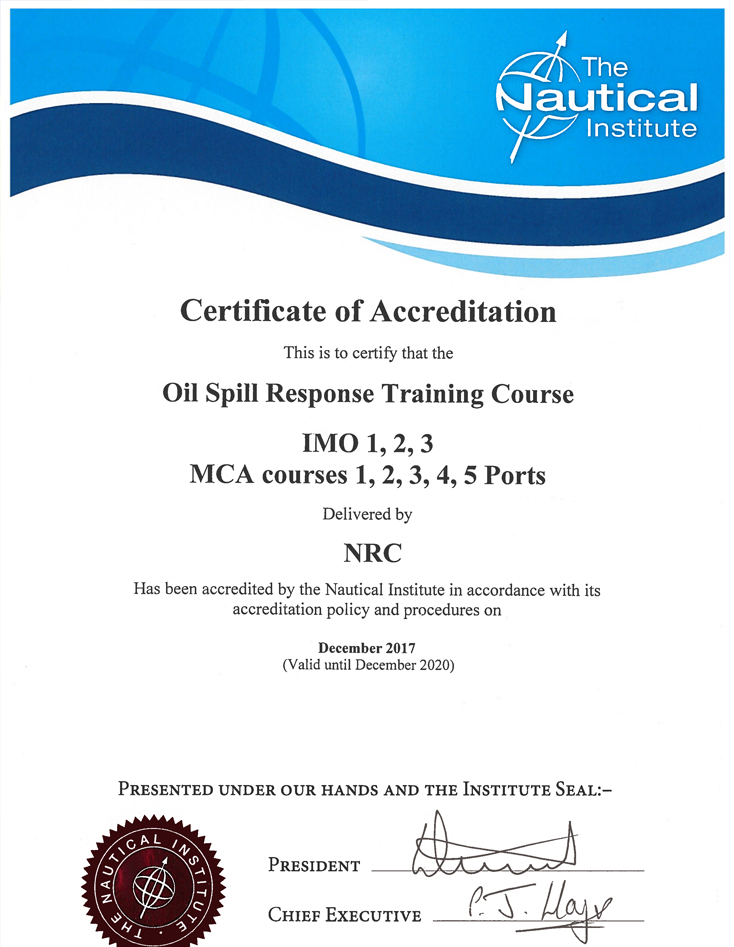 Nautical Institute Training Accreditation Certificate