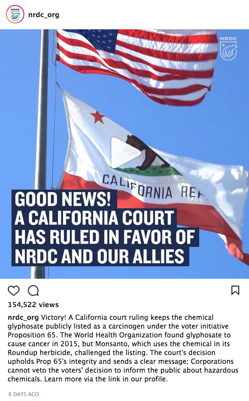 On Instagram: Good News! A California Court Has Ruled in Favor of NRDC and Our Allies. Watch the Video and Learn More.