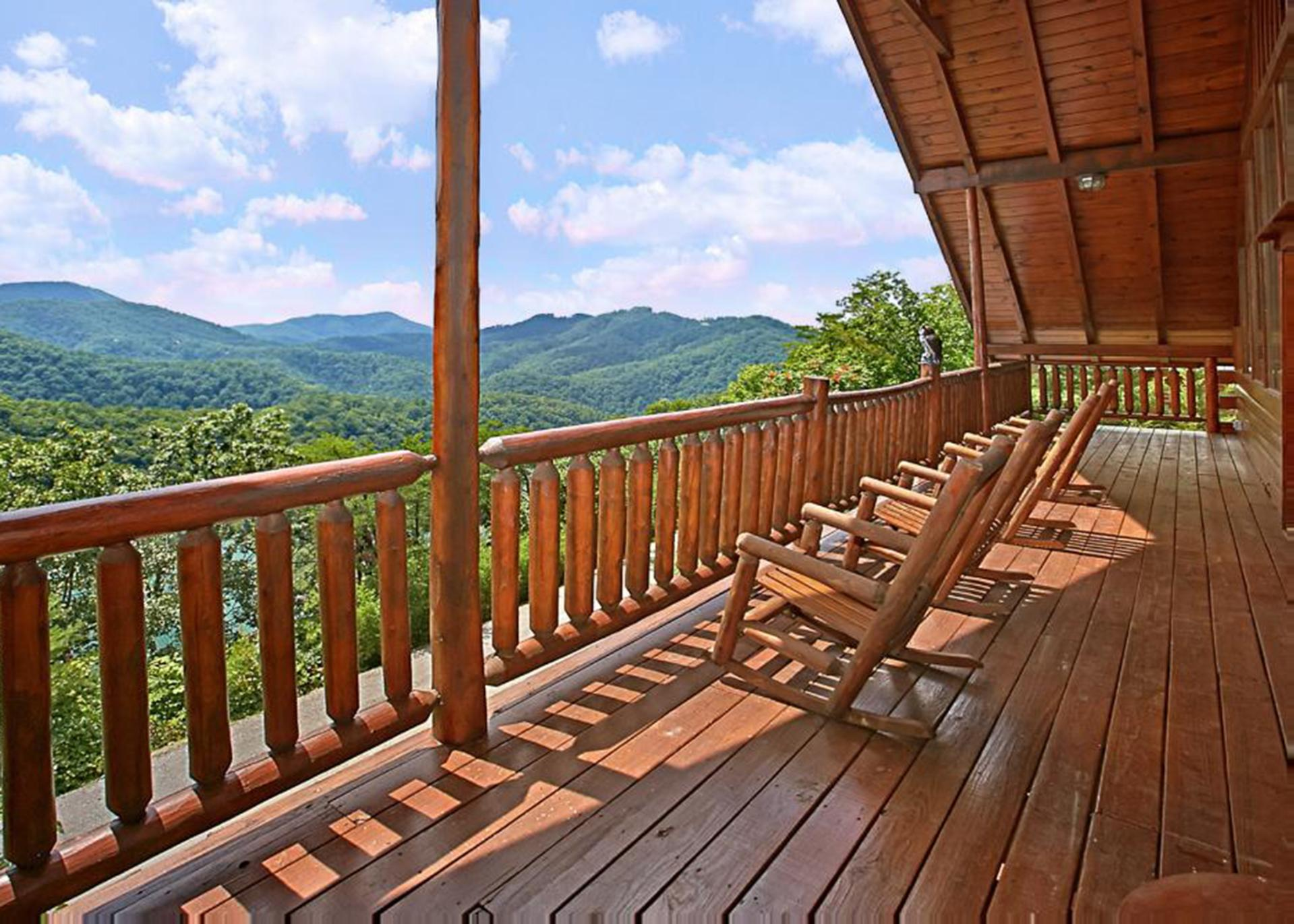Rocking chairs and a porch swing complete the experience on our covered back deck.