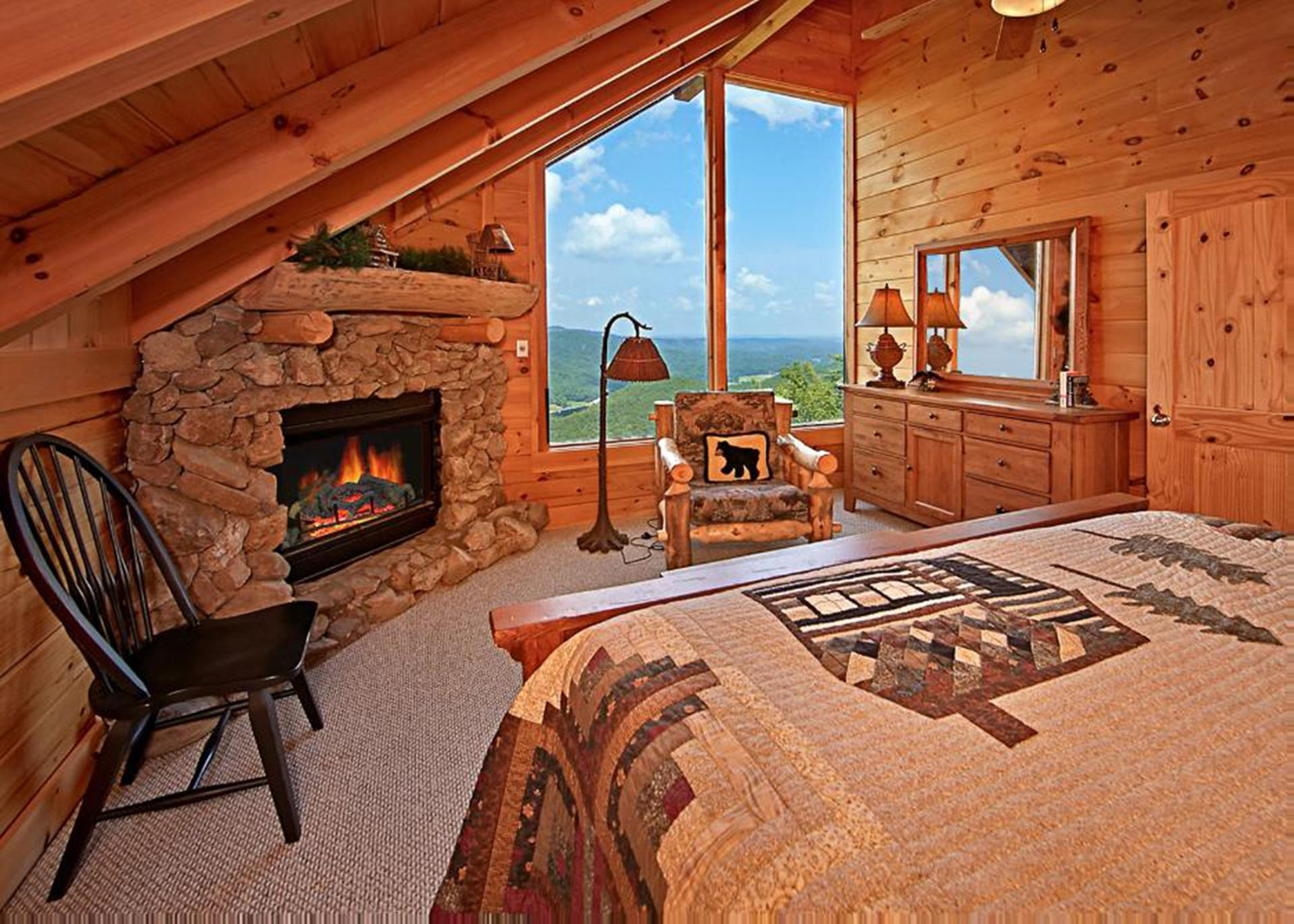 Wake up to beautiful views or enjoy a cozy sitting area by the fire.