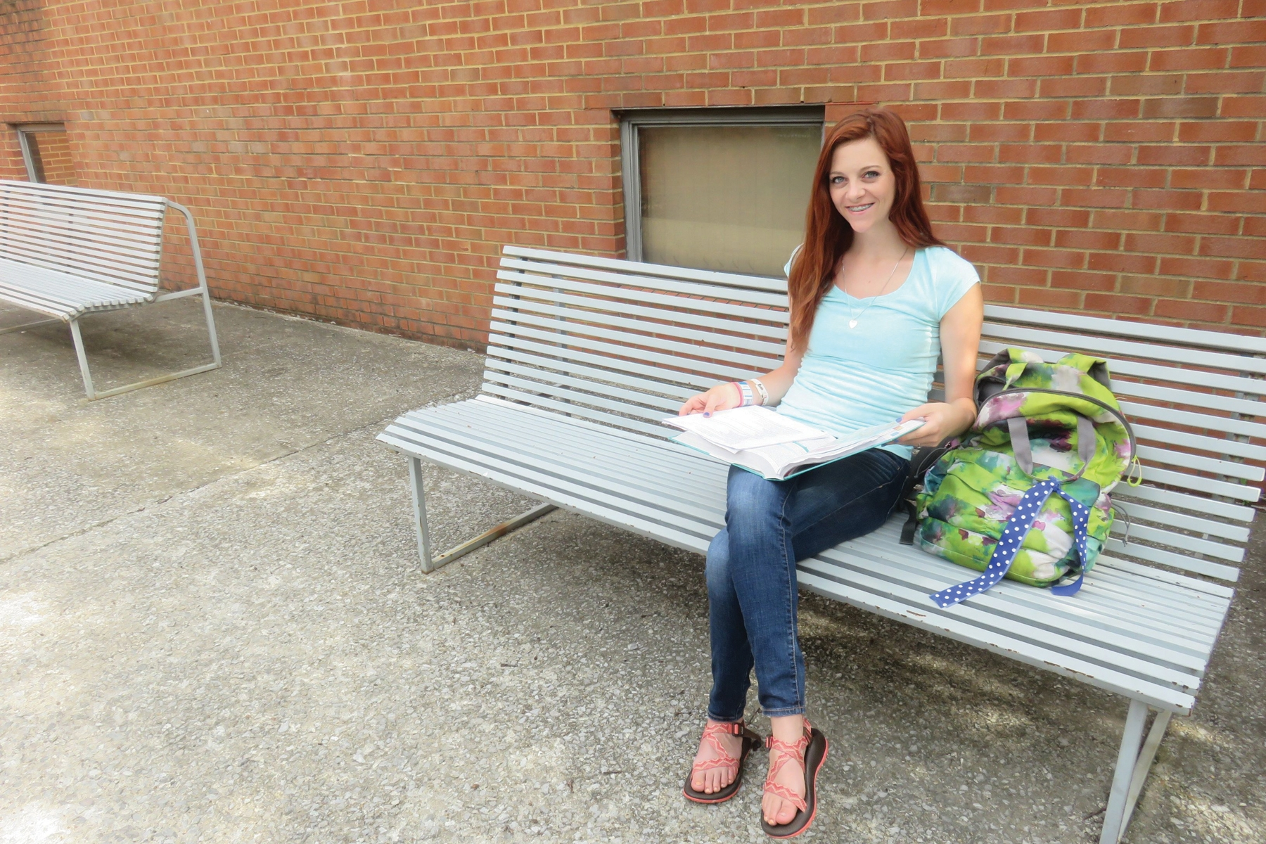 Young Woman Bench Outside