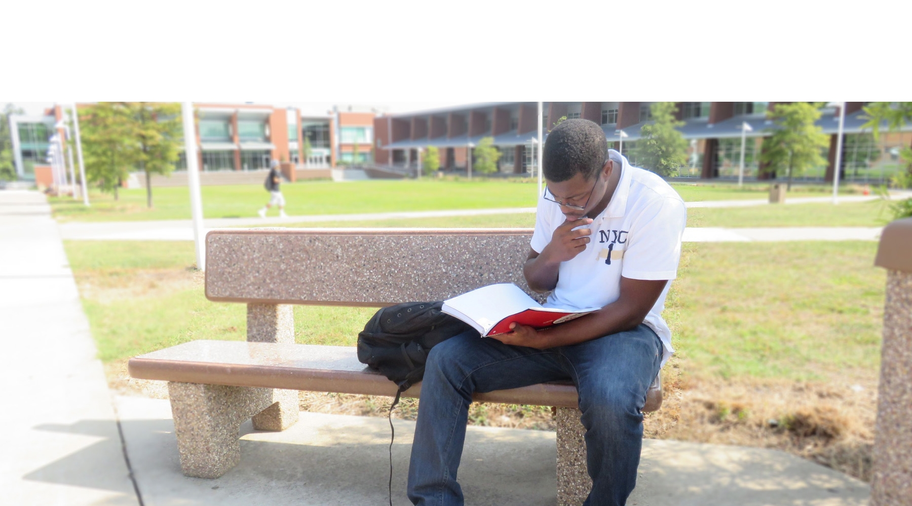 Student Studying In Quad Area 800