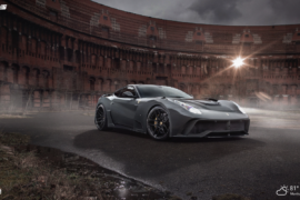 black Ferrari car