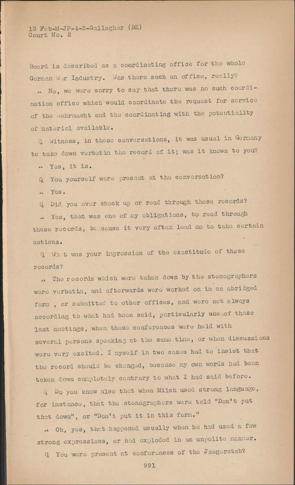 Nuremberg - Transcript Viewer - Transcript for NMT 2: Milch Case
