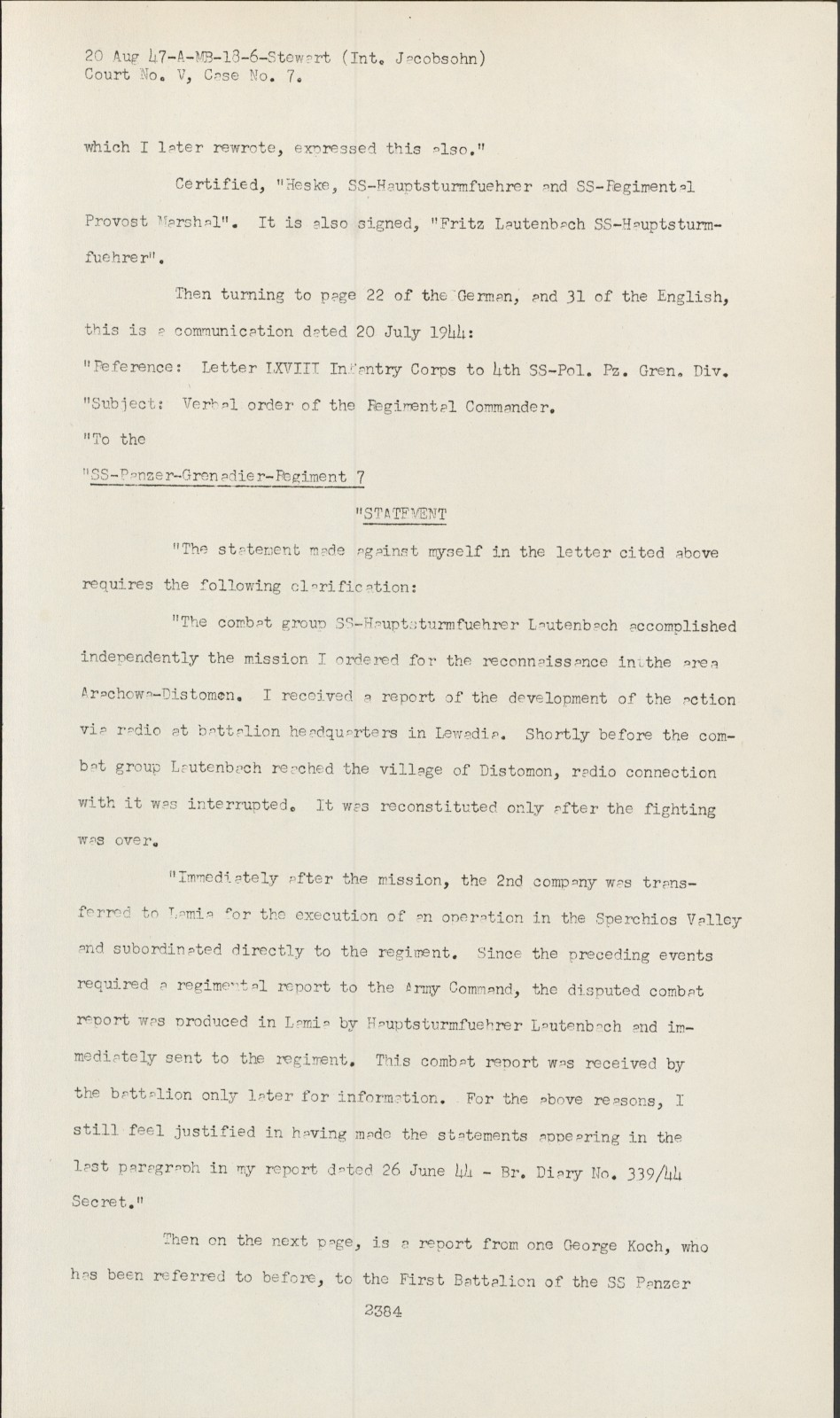 Nuremberg - Transcript Viewer - Transcript for NMT 7: Hostage Case