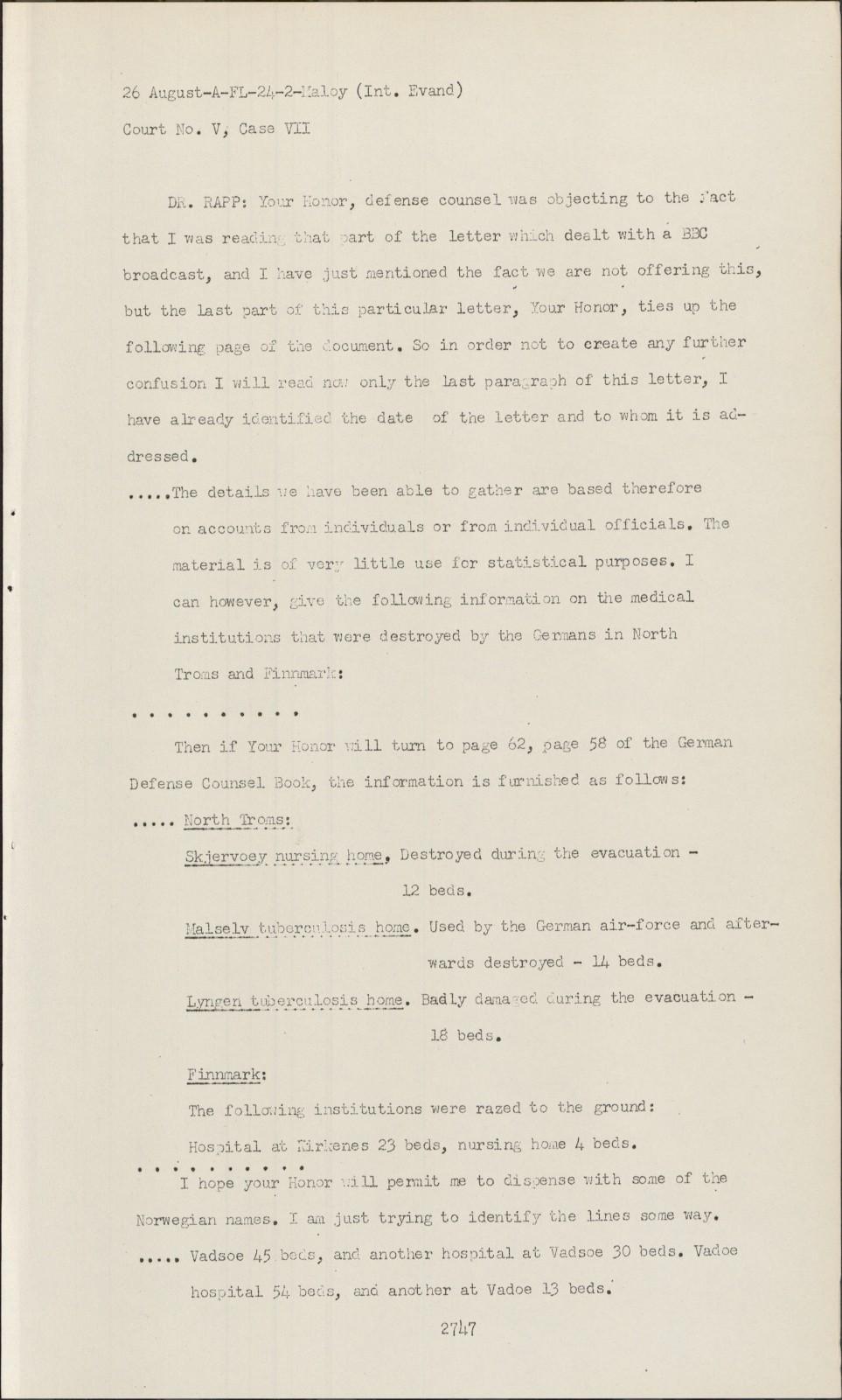 Nuremberg transcript viewer transcript for nmt 7: hostage case.