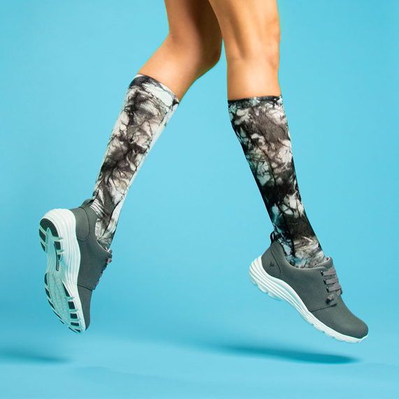 Compression Socks in black & grey tie-dye. Shop All Compression Socks.