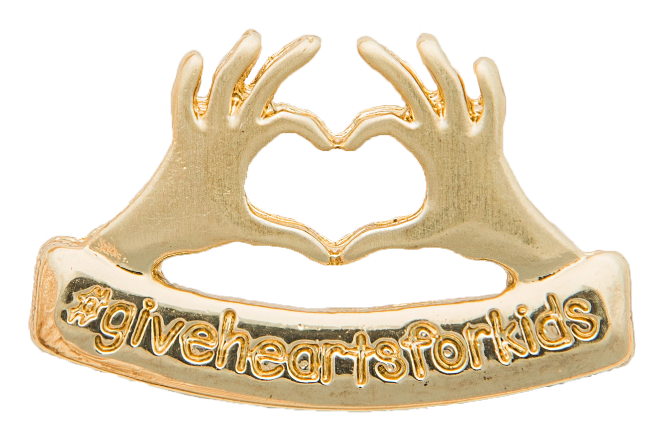 give hearts for kids pin