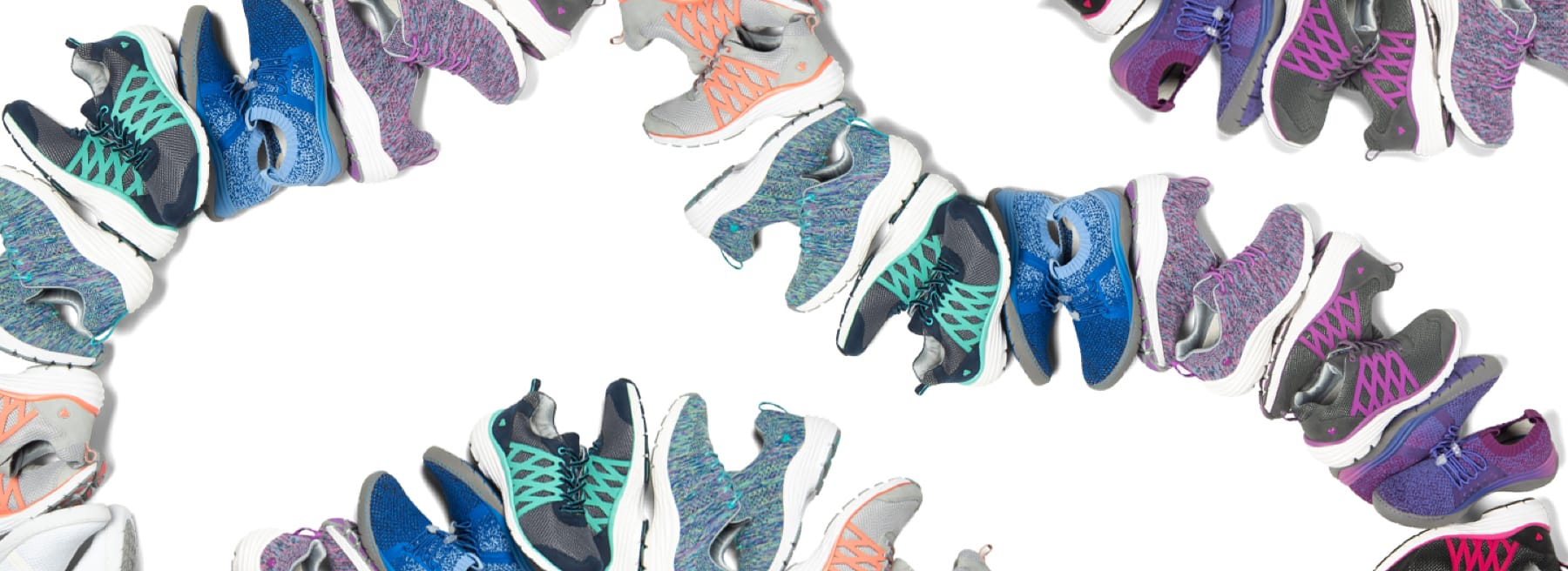 Wave of shoes including featured styles Align Brin in navy & teal, black-pink, grey-purple, and grey/peach, Align Tabor in blue woven and purple woven, and Align Torri in marina blue ombre, orchid ombre, and crisp white. Shop new arrivals.