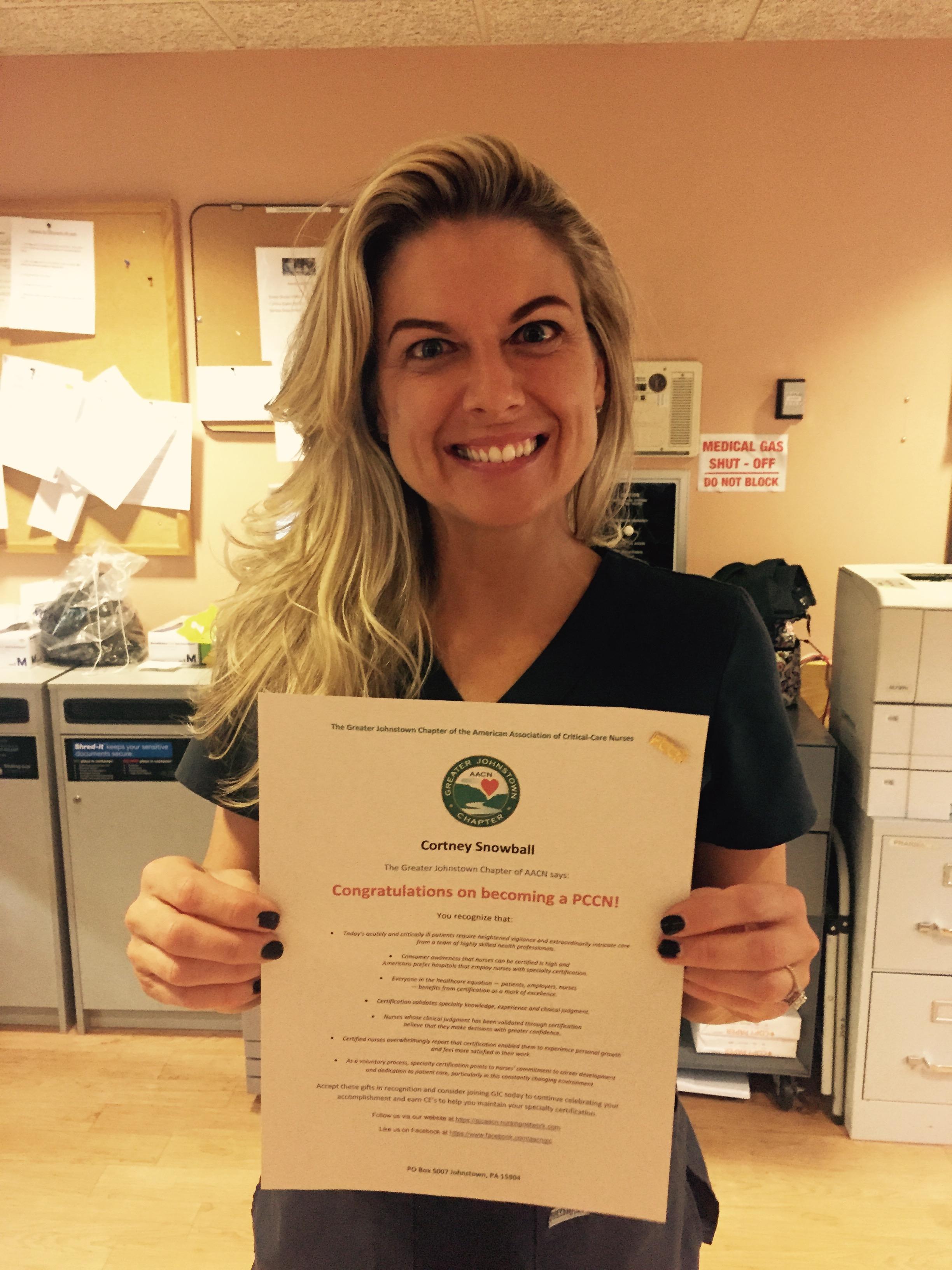 Certification Matters Congratulations Cortney Snowball Pccn