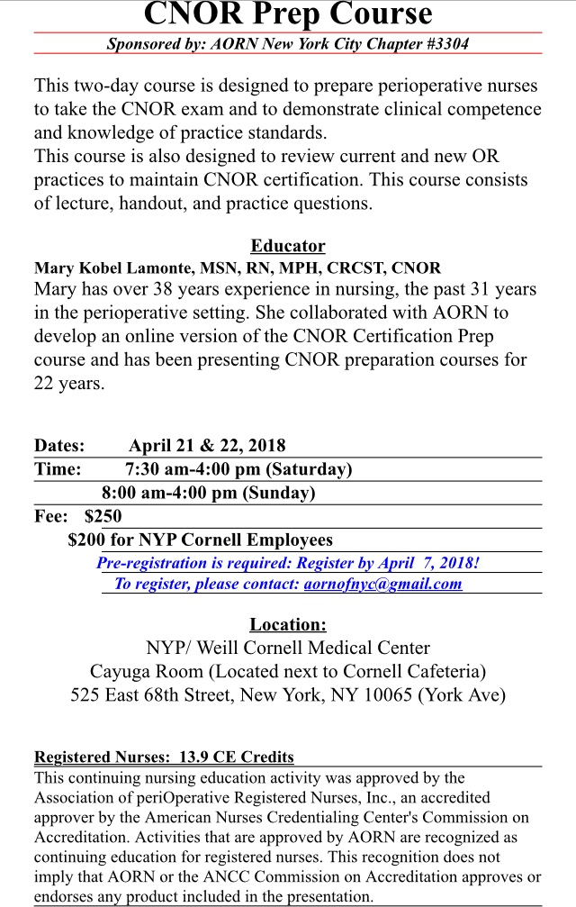 CNOR Prep Course April 21 & 22, 2018 | The New York City Chapter ...
