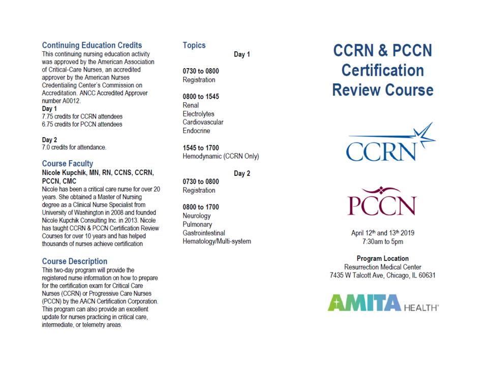 Spring 2019 Ccrn Pccn Review Course The Greater Chicago Area