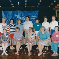 NEAOHN Board 1990. Standing left to right Vivian Hislop, Suzanne Smith, Ann Marie May, Suzanne Stahl, Nancy Grasso, Marilyn Benedict. Sitting left to right Shirley Davis, Mary Lou Cabot, Evie Bain (President), Therese Cote, Cecile Hayward.