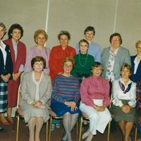 1987 Board of Directors L-R Standing: Betty Murray, Deborah Roy, Claire Martin, Shirley Madden, Shirley Davis, Barbara Gunter, Margaret Dole, AnnaMarie May, Mary Warzecha. Sitting L-R Kathy Easterson, Therese Cote, Marylou Cabot, Evie Bain, Josie DeSanto