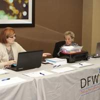 Busy with registrations at Spring conference at Hilton Arlington Hotel in Arlington, Texas