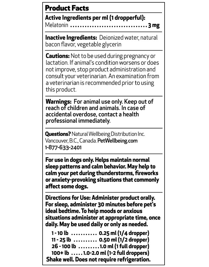 Pet Melatonin Supplemental Facts Panel