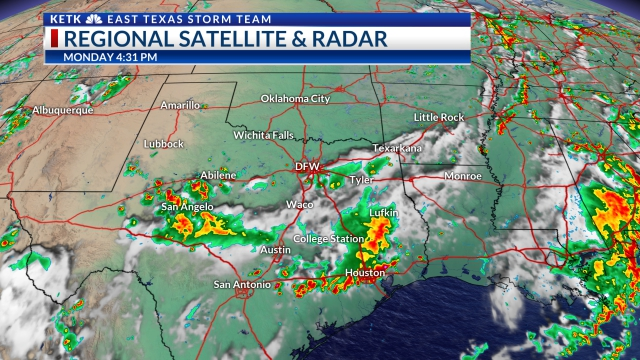 Texas Satellite Weather Map.Rain Continues Into Wednesday Morning Then A Break