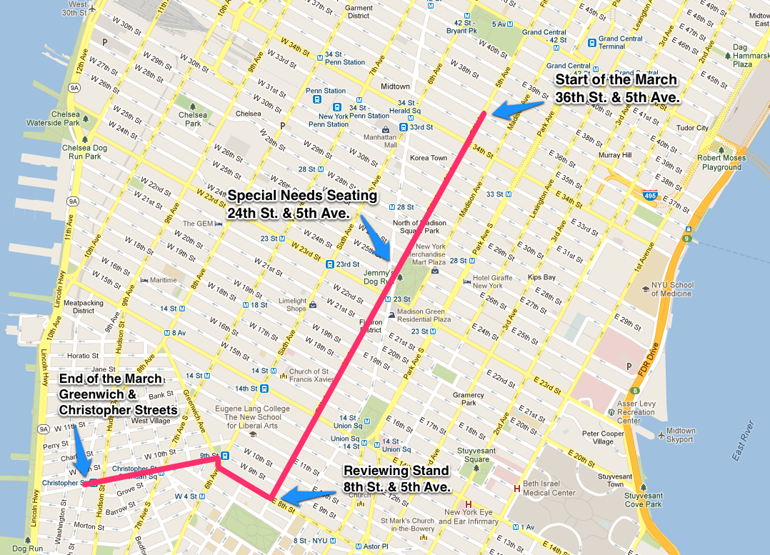 heres the official nyc pride parade route map