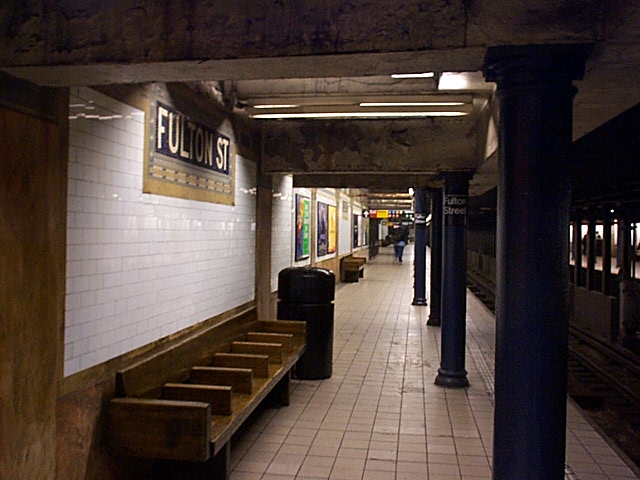(118k, 640x480)<br><b>Country:</b> United States<br><b>City:</b> New York<br><b>System:</b> New York City Transit<br><b>Line:</b> IRT East Side Line<br><b>Location:</b> Fulton Street <br><b>Photo by:</b> Richard Brome<br><b>Date:</b> 3/18/1999<br><b>Viewed (this week/total):</b> 0 / 7104