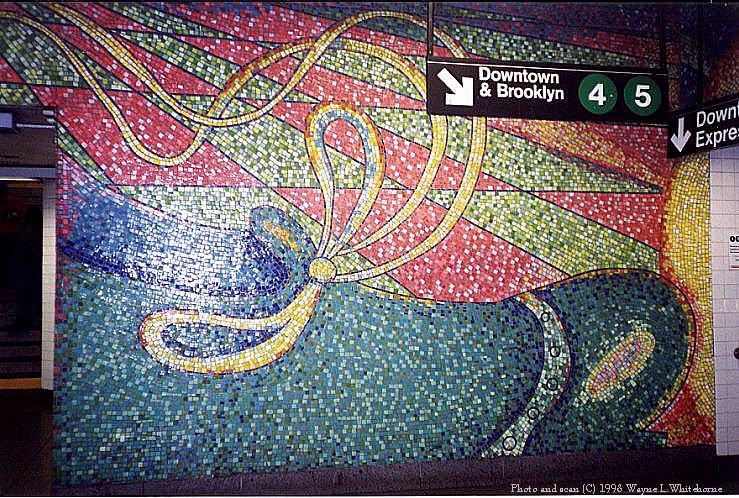 (171k, 739x498)<br><b>Country:</b> United States<br><b>City:</b> New York<br><b>System:</b> New York City Transit<br><b>Line:</b> BMT Broadway Line<br><b>Location:</b> 59th Street <br><b>Photo by:</b> Wayne Whitehorne<br><b>Date:</b> 8/1/1998<br><b>Artwork:</b> <i>Blooming</i>, Elizabeth Murray (1996).<br><b>Viewed (this week/total):</b> 0 / 5559