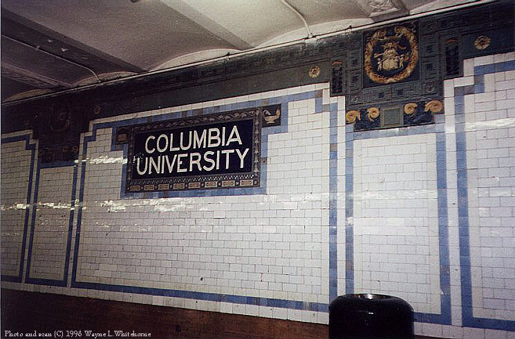 (93k, 745x491)<br><b>Country:</b> United States<br><b>City:</b> New York<br><b>System:</b> New York City Transit<br><b>Line:</b> IRT West Side Line<br><b>Location:</b> 116th Street/Columbia University <br><b>Photo by:</b> Wayne Whitehorne<br><b>Date:</b> 5/28/1998<br><b>Notes:</b> Original tablet and medallion-Heins & LaFarge<br><b>Viewed (this week/total):</b> 1 / 3698