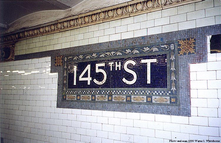 (112k, 751x485)<br><b>Country:</b> United States<br><b>City:</b> New York<br><b>System:</b> New York City Transit<br><b>Line:</b> IRT West Side Line<br><b>Location:</b> 145th Street <br><b>Photo by:</b> Wayne Whitehorne<br><b>Date:</b> 5/15/1999<br><b>Notes:</b> Mosaic tablet<br><b>Viewed (this week/total):</b> 2 / 3975
