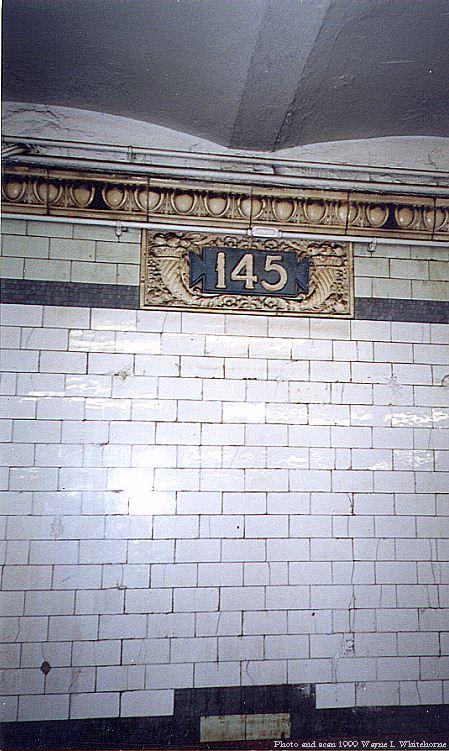 (88k, 449x751)<br><b>Country:</b> United States<br><b>City:</b> New York<br><b>System:</b> New York City Transit<br><b>Line:</b> IRT West Side Line<br><b>Location:</b> 145th Street <br><b>Photo by:</b> Wayne Whitehorne<br><b>Date:</b> 5/15/1999<br><b>Notes:</b> 'Plentys Horn' cartouche<br><b>Viewed (this week/total):</b> 4 / 3702