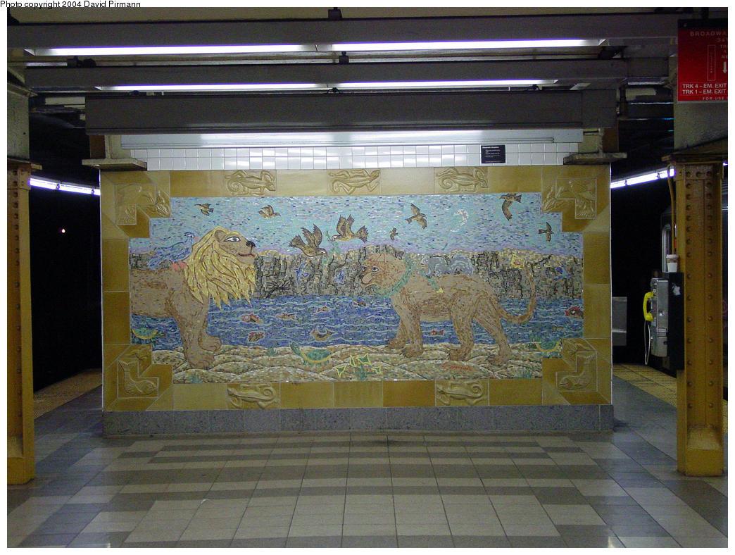 (186k, 1044x788)<br><b>Country:</b> United States<br><b>City:</b> New York<br><b>System:</b> New York City Transit<br><b>Line:</b> IRT West Side Line<br><b>Location:</b> 34th Street/Penn Station <br><b>Photo by:</b> David Pirmann<br><b>Date:</b> 10/29/2004<br><b>Artwork:</b> <i>When the Animals Speak</i>, Elizabeth Grajales (1998).<br><b>Notes:</b> Art installation, south end.<br><b>Viewed (this week/total):</b> 3 / 3380