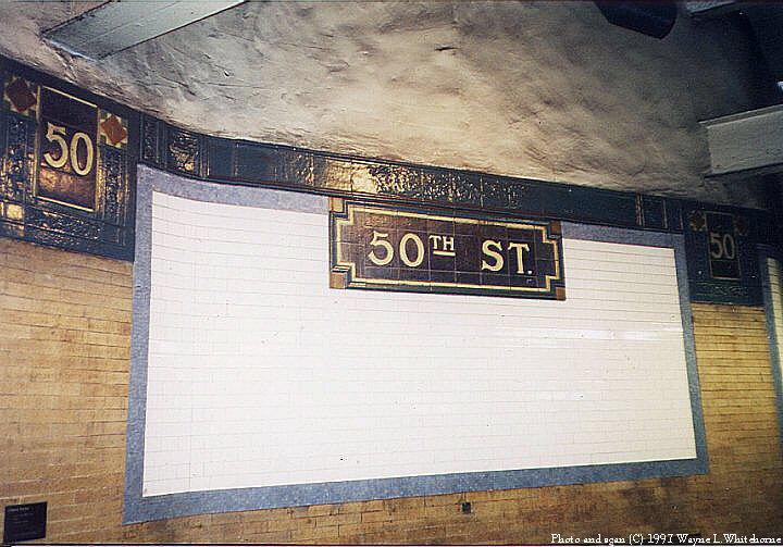 (89k, 720x503)<br><b>Country:</b> United States<br><b>City:</b> New York<br><b>System:</b> New York City Transit<br><b>Line:</b> IRT West Side Line<br><b>Location:</b> 50th Street <br><b>Photo by:</b> Wayne Whitehorne<br><b>Date:</b> 1998<br><b>Notes:</b> Faience plaque, Heins & LaFarge/Grueby Faience Company, 1904. Original design element, Contract 1 IRT.<br><b>Viewed (this week/total):</b> 0 / 3349