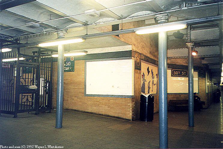 (96k, 743x497)<br><b>Country:</b> United States<br><b>City:</b> New York<br><b>System:</b> New York City Transit<br><b>Line:</b> IRT West Side Line<br><b>Location:</b> 50th Street<br><b>Photo by:</b> Wayne Whitehorne<br><b>Date:</b> 1998<br><b>Viewed (this week/total):</b> 8 / 4866